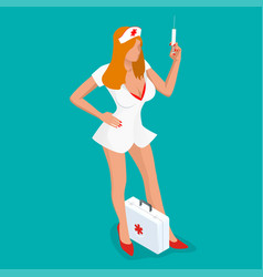 sexy nurse isometric people beautiful young vector image