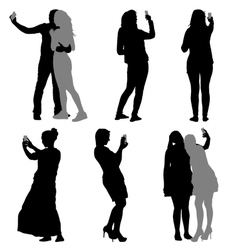 Silhouettes man and woman taking selfie with vector image