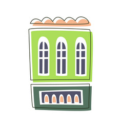 Simple green living house cute fairy tale city vector