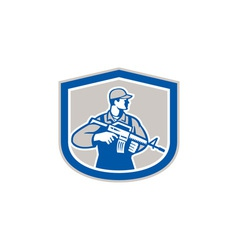 Soldier military serviceman rifle side crest retro vector