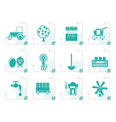 Stylized farming industry and farming tools icons vector
