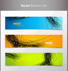 Three abstract background banners with black lines vector