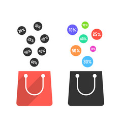 two shopping bags with falling prices vector image