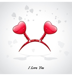 Valentines card with a crown and red hearts vector image vector image