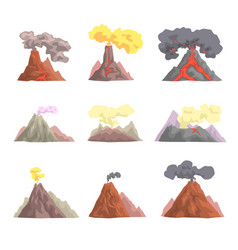 Volcano eruption set volcanic magma blowing up vector