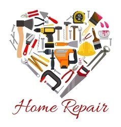 Work tools poster in heart symbol vector