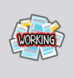 Working sticker social media network message vector