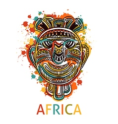 African tribal mask with geometric ornament vector