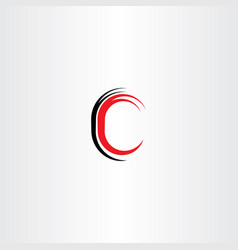 Red black letter c sign symbol vector