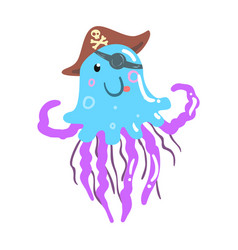 Funny cartoon jellyfish pirate in a hat and eye vector