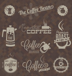 Retro coffee shop labels and symbols vector