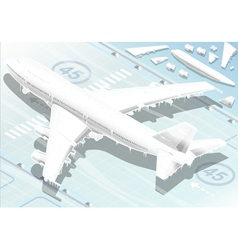 Isometric frozen airplane in rear view vector