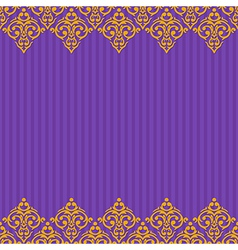Seamless purple and gold frameborder in damask vector