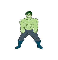 Green angry man clenching fist cartoon vector