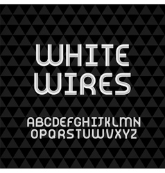 Wired wavy cable white contour alphabet vector