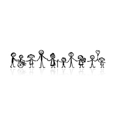 family together sketch vector image