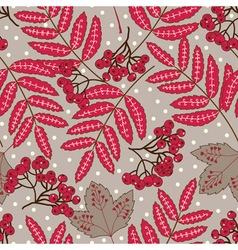 Stock seamless pattern with red leaves and berries vector image