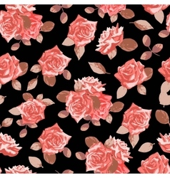 Seamless pattern with hand drawn roses vector