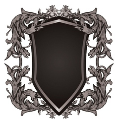 shield with floral vector image