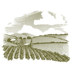 Woodcut Rural Farm House vector image