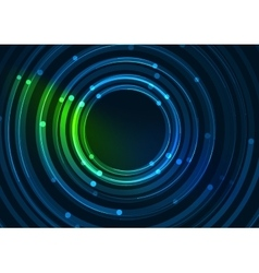 Abstract color glowing lines in dark space with vector image