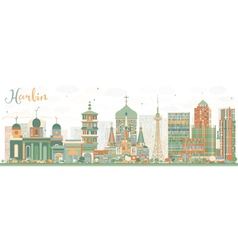 Abstract harbin skyline with color buildings vector