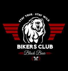 Bear bikers club tee print design t-shirt vector