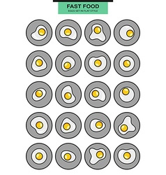 Big set of icons eggs fried egg white and yolk vector