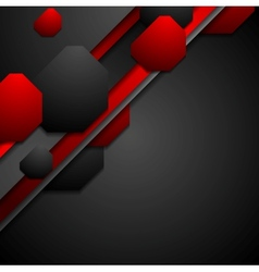 Black and red tech background with geometric vector image vector image