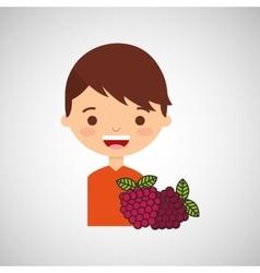 Boy smiling cartoon with raspberry icon design vector
