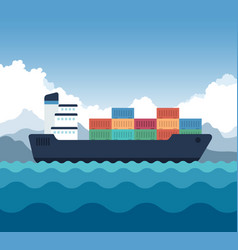 Cargo shipping with containers icon vector