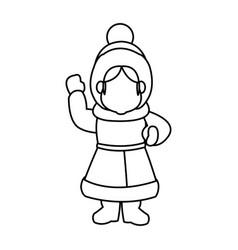cartoon woman christmas song winter clothes vector image