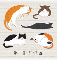 Cats sleep collection vector