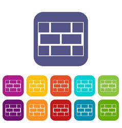 Concrete block wall icons set vector