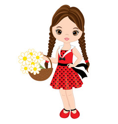 cute little girl with basket of flowers vector image vector image