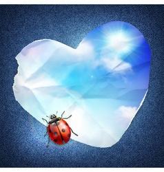 Denim background with heart vector