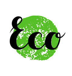 Eco sign hand drawn brush lettering vector