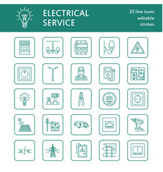 electricity engineering flat line icons vector image vector image