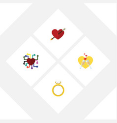 flat icon love set of heart celebration emotion vector image