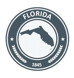 Florida stamp with state map contour vector