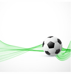 Football with green wave background vector