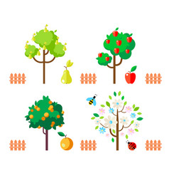 Fruit trees apple pear orange flowering tree vector