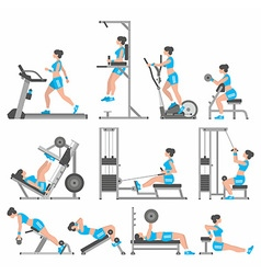 Girls in the gym vector