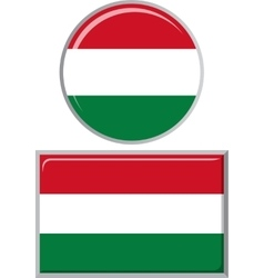 Hungarian round and square icon flag vector