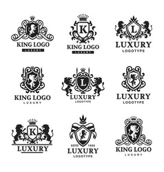 Luxury boutique royal crest high quality vintage vector