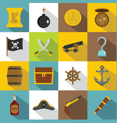 Pirate icons set flat style vector