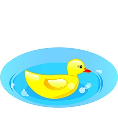 rubber duck in blue water vector image vector image