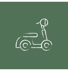 Scooter icon drawn in chalk vector