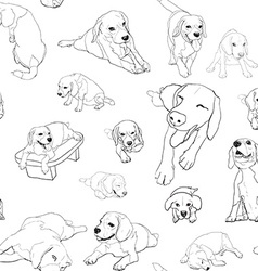 Seamless pattern background of beagle set vector image