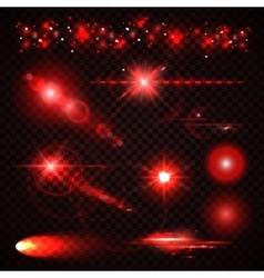 Set of red Light effects spotlights flash stars vector image vector image